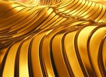 抽象发光的金黄波浪背景 免版税图库摄影