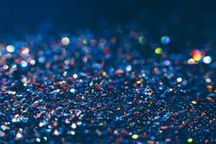 抽象发光的闪烁蓝色假日背景 图库摄影
