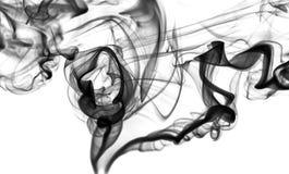 抽象发烟:黑烟漩涡或曲线 免版税库存图片