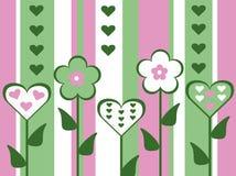 抽象古板的被删去的样式桃红色和绿色花和心脏情人节卡片镶边了背景例证 库存图片