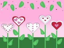 抽象古板的被删去的样式花和叶子情人节拟订背景例证 库存照片