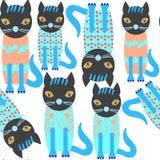 抽象可爱的逗人喜爱的猫无缝的样式和无缝的patte 库存例证