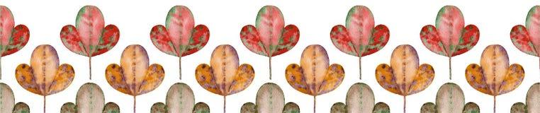 抽象叶子水平的无缝的样式 免版税库存照片