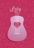 抽象吉他和爱标志有笔记背景 免版税库存照片