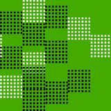抽象和任意黑白正方形无缝的样式传染媒介在绿色背景的 库存图片