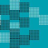 抽象和任意黑白正方形无缝的样式传染媒介在蓝色背景的 库存照片