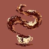 抽象咖啡与咖啡飞溅的 向量 免版税库存照片