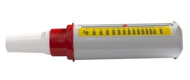 抽象哮喘背景流查出在患者峰顶集使用的白色的医疗米 免版税库存照片