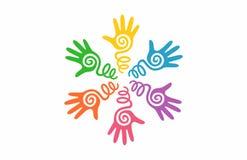 抽象商标传染媒介五颜六色的手印刷品 库存例证