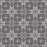 抽象回合排行在黑白的无缝的样式背景例证 库存例证