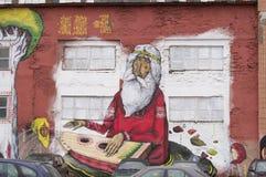 抽象图片绘了在大厦的墙壁上的街道画 免版税库存照片