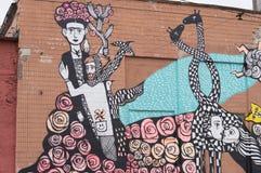 抽象图片绘了在大厦的墙壁上的街道画 免版税库存图片