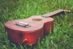 抽象图象关闭乐器在绿草的尤克里里琴吉他在葡萄酒样式 库存照片