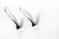 抽象图象厨房 两把叉子阴影 免版税库存图片