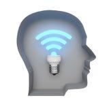 抽象图象标志Wi-Fi在人脑里 免版税库存图片