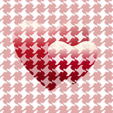 抽象图画两红色心脏& x28; 大和小together& x29; 免版税库存图片