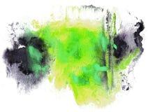 抽象图画冲程墨水水彩刷子黑色,绿色水 图库摄影