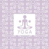 抽象图紫罗兰色瑜伽演播室设计卡片 库存图片