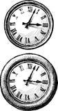 抽象圆的时钟的剪影 库存照片