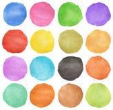抽象圈子五颜六色的水彩 免版税库存照片