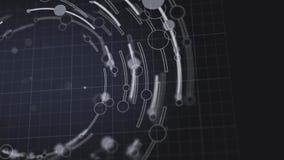 抽象圈子和线转动几何形式动画 库存例证