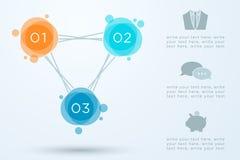 抽象圈子Infographic连接了1到3 库存照片
