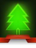抽象圣诞树线艺术设计 图库摄影