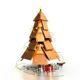抽象圣诞树, 3D 免版税库存图片