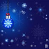 抽象圣诞节和球装饰蓝色背景 图库摄影