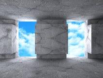 抽象在天空背景的建筑学混凝土建筑 免版税图库摄影