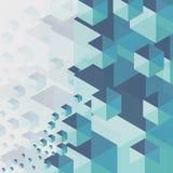 抽象在灰色背景的背景蓝色六角形 免版税库存照片