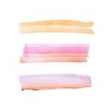 抽象在白色背景的水彩水彩画手拉的五颜六色的形状艺术油漆泼溅物污点 免版税库存照片