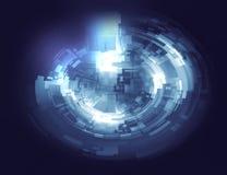 抽象在蓝色颜色的背景圆图表元素 免版税库存照片