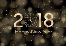 抽象在黑四周被弄脏的背景的金子光亮的新年2018年概念 豪华设计 免版税库存照片