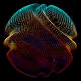 抽象在黑暗的背景的传染媒介五颜六色的滤网球形 未来派样式卡片 向量例证