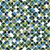 抽象在绿色和蓝色颜色的马赛克减速火箭的无缝的样式 免版税库存图片