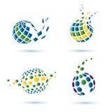 抽象地球套图标 免版税库存照片