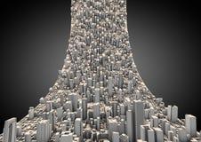抽象城市弯曲了 库存图片