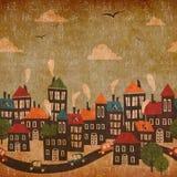 抽象城市葡萄酒背景 库存照片
