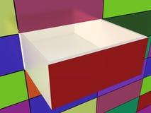 抽象墙壁和被打开的箱子 免版税库存照片
