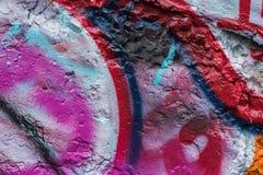 抽象墙壁特写镜头 街道画细节 背景的,时髦的样式,时尚颜色片段 库存照片