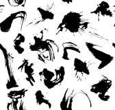 抽象墨水slpashes样式黑白传染媒介 皇族释放例证