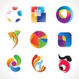 抽象多个五颜六色的徽标模板 库存图片