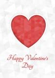 抽象多角形心脏 在白色背景裁减的红色origami心脏 也corel凹道例证向量 浪漫背景为情人节 库存图片