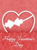 抽象多角形心脏 在白色背景裁减的红色origami心脏 也corel凹道例证向量 浪漫背景为情人节 免版税库存图片