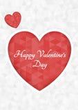 抽象多角形心脏 在白色背景裁减的红色origami心脏 也corel凹道例证向量 浪漫背景为情人节 库存照片