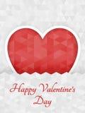 抽象多角形心脏 在白色背景裁减的红色origami心脏 也corel凹道例证向量 浪漫背景为情人节 免版税图库摄影