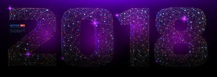 抽象多角形数字与满天星斗的天空或空间宇宙纹理的新年2018年  免版税图库摄影