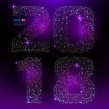 抽象多角形数字与满天星斗的天空或空间宇宙纹理的新年2018年  免版税库存照片