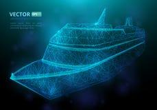 抽象多角形海洋船或小船有满天星斗的天空纹理的  免版税库存照片